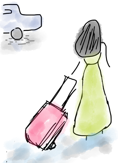 cartoon image of a woman pulling a travel suitcase
