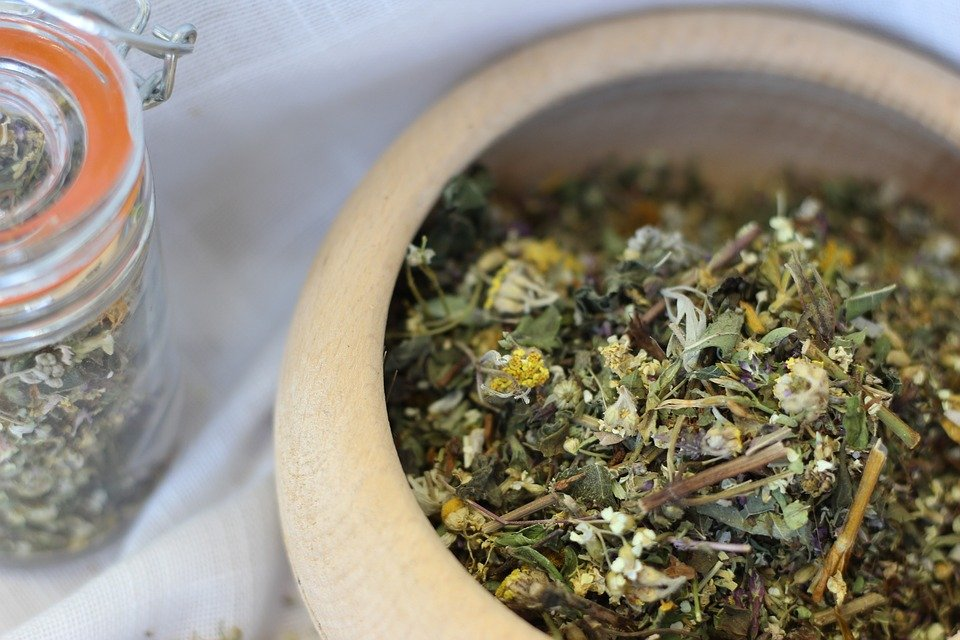 bowl full of dried herbs