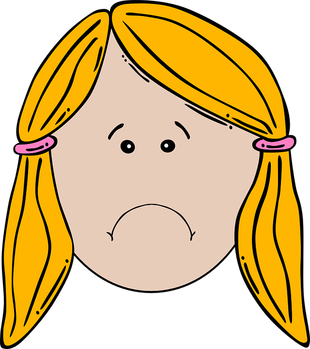 cartoon face of blonde girl frowning