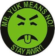 graphic image round green puking face words MR. YUK MEANS NO! STAY AWAY!