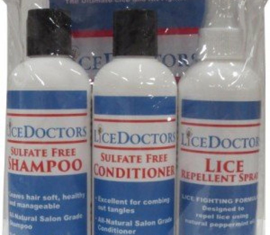 LiceDoctors Kit bottles of shampoo conditioner lice repellent spray.