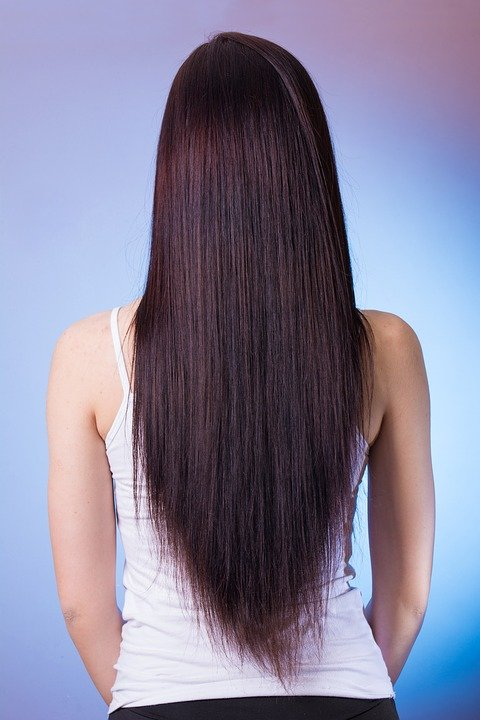 rear view of someone with very long very straight hair hanging down their back.