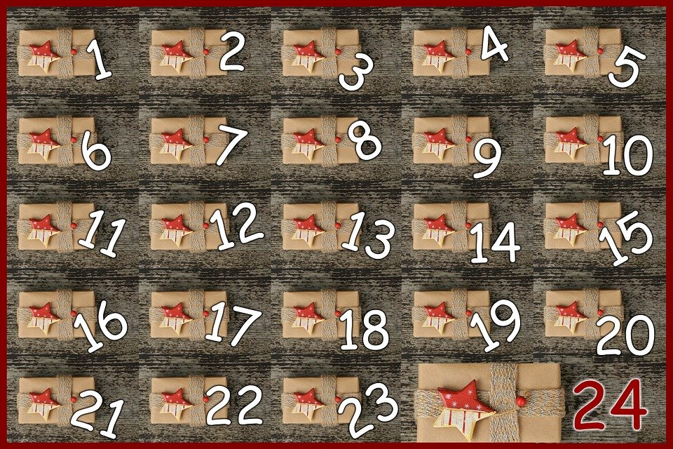 24 numbered wrapped brown paper packages advent calendar.