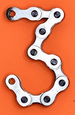 Number 3 formed from bicycle chain links on orange background.