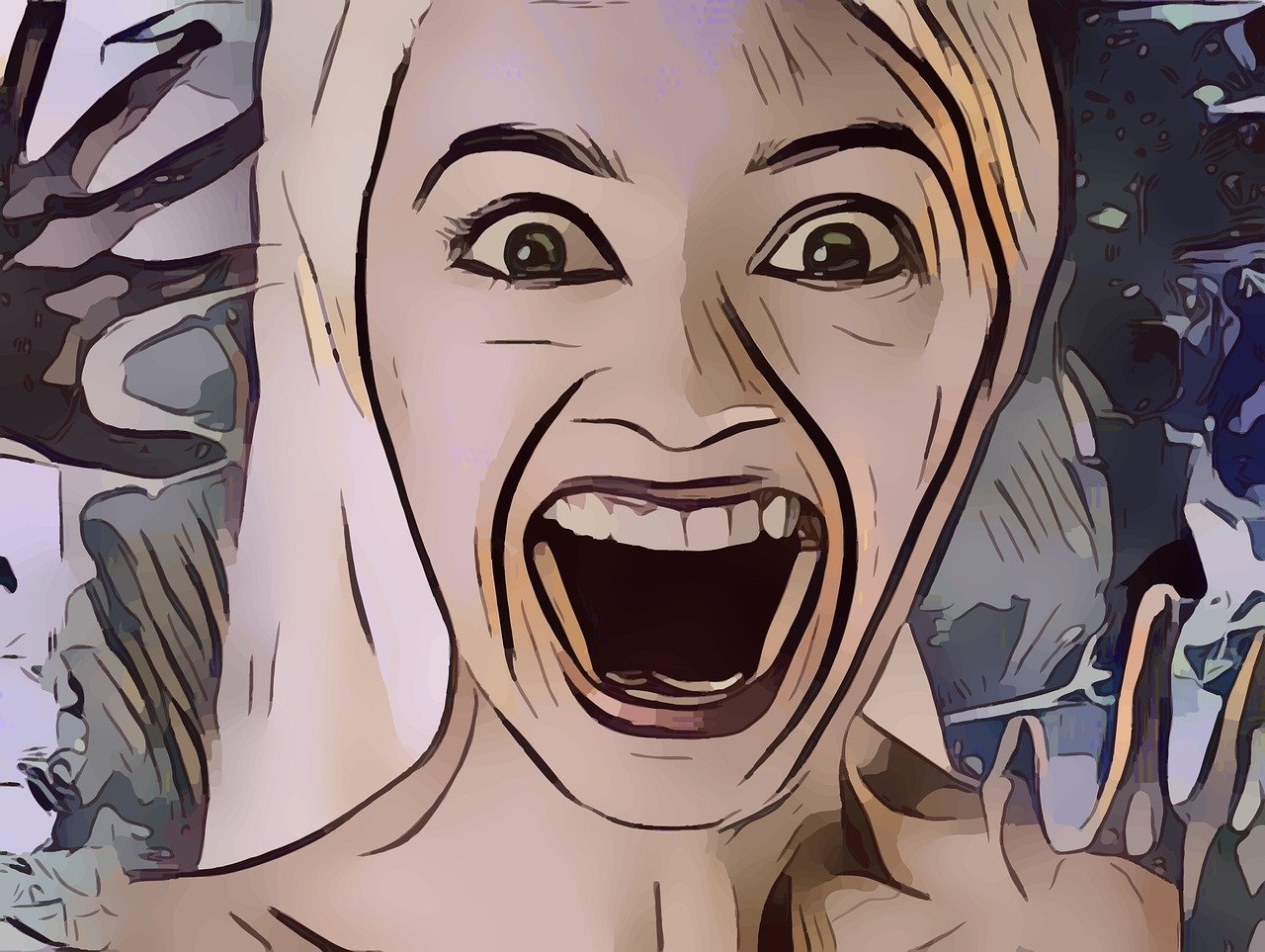 graphic novel style cartoon of woman appearing to scream with wide open mouth and startled eyes.