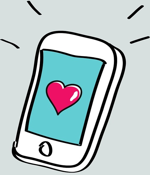 cartoon line art graphic of cellular iphone with heart on screen.