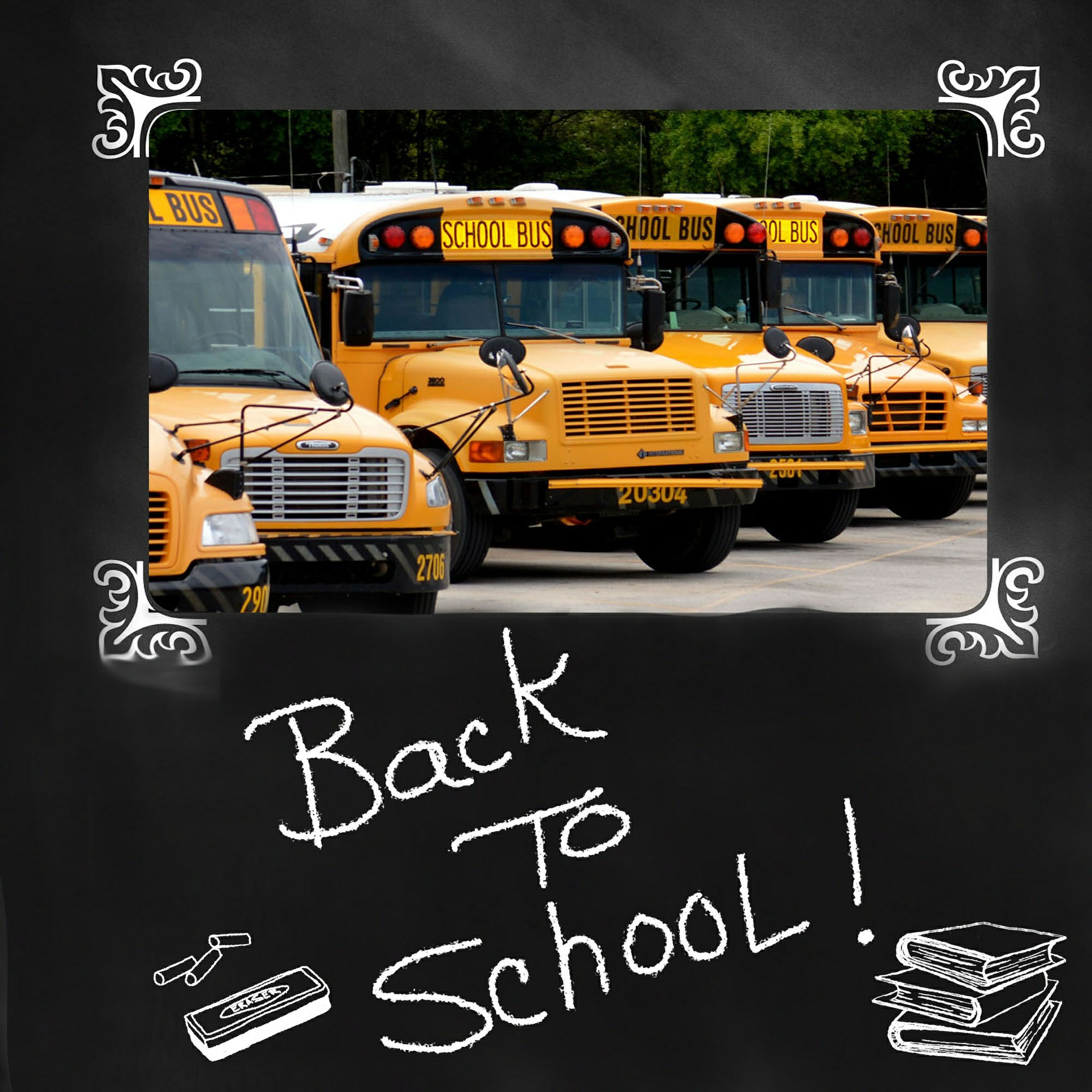 back-to-school-school buses in a chalk board frame