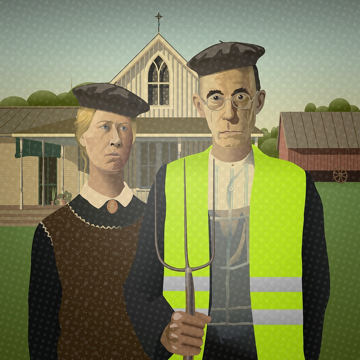 stylized humorous rendition of American Gothic painting wearing berets.