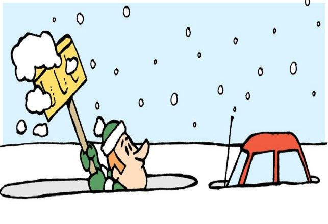 Cartoon of man shoveling very deep snow to reach reach snow covered car.