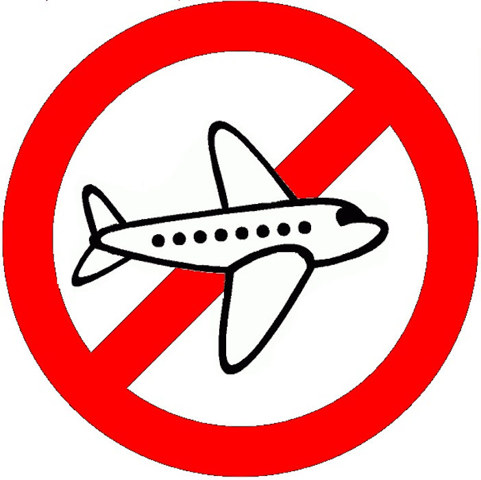 no fly prohibit red slash circle airplane.