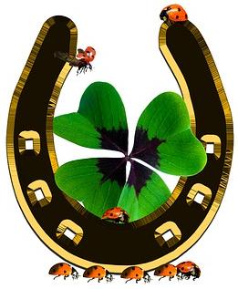 lucky symbolism horse shoe with shamrock and ladybugs.