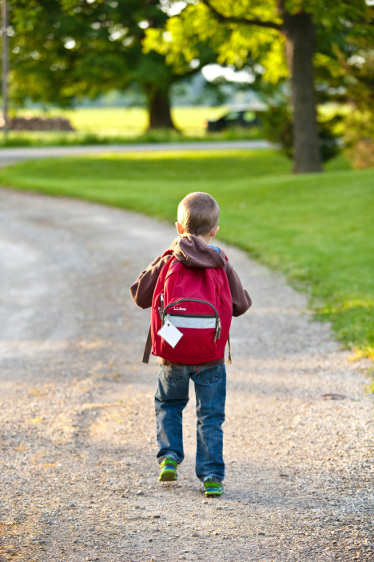 rear view of little boy wearing a backpack walking down a dirt path