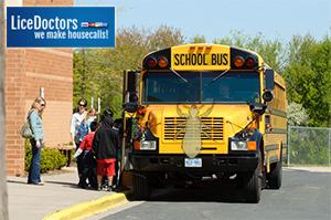 Students getting on school bus - Lice Doctors