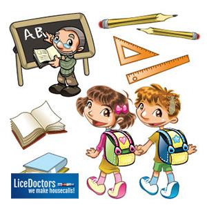 Cartoon of school items - LiceDoctors