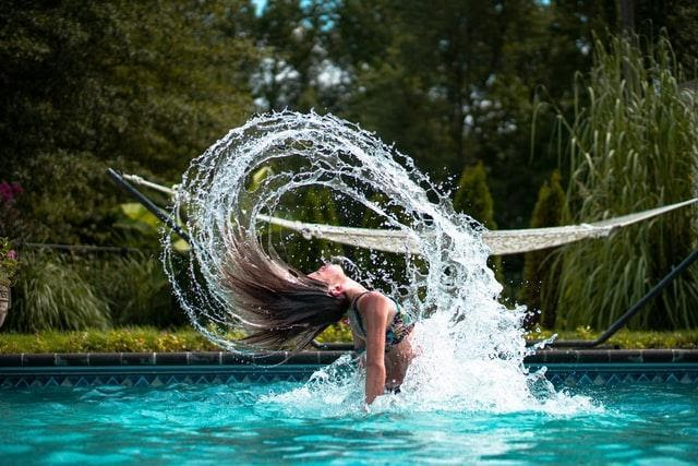 woman in a swimming pool with chlorine