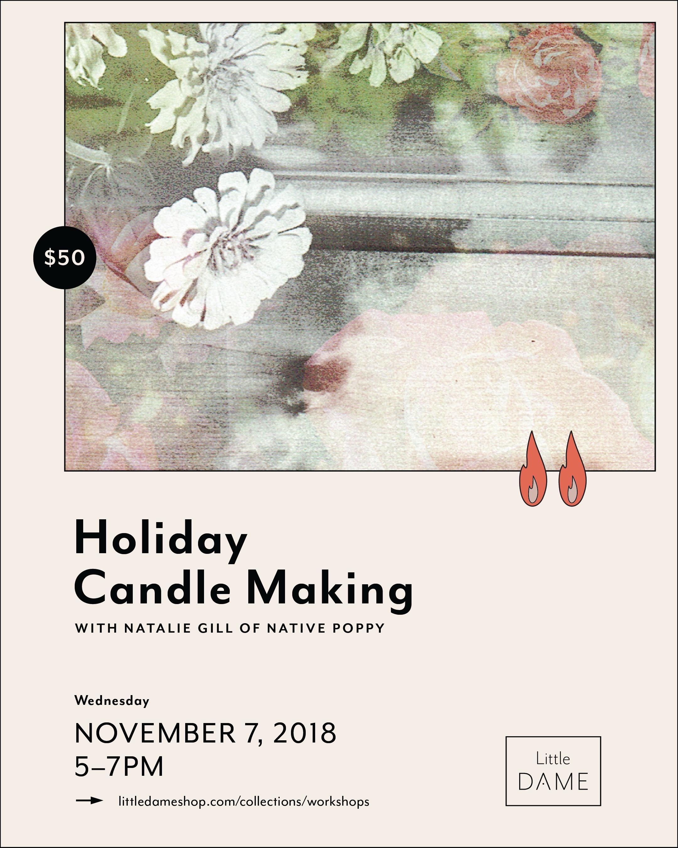 Little Dame Shop | Natalie Gill Candle Making Workshop | Flyer