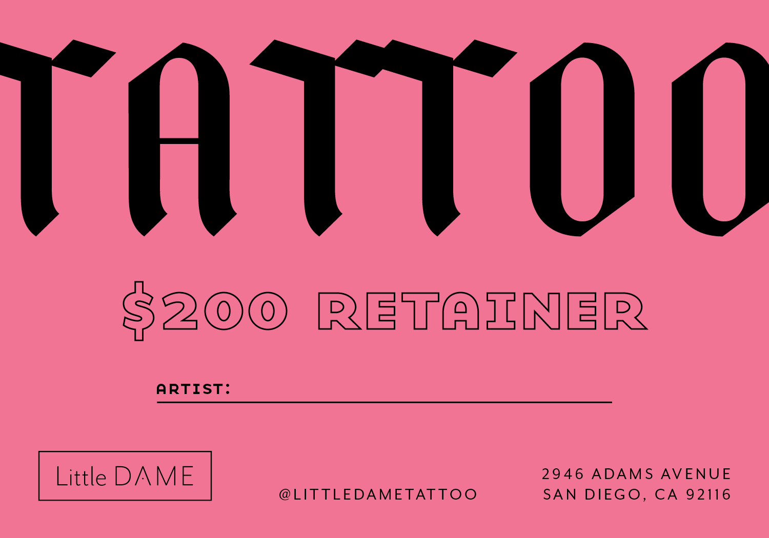 Little Dame Tattoo—Gift Cards