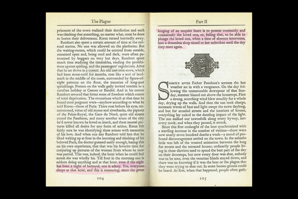 Book Design: Chapter Sections from  The Plague by Albert Camus