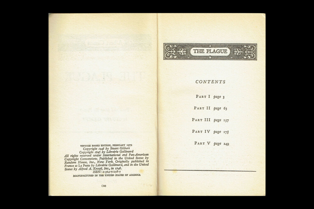 Book Design: Table of Contents from  The Plague by Albert Camus