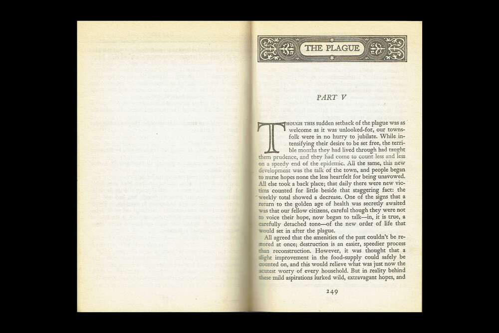 Book Design: Part Sections from  The Plague by Albert Camus