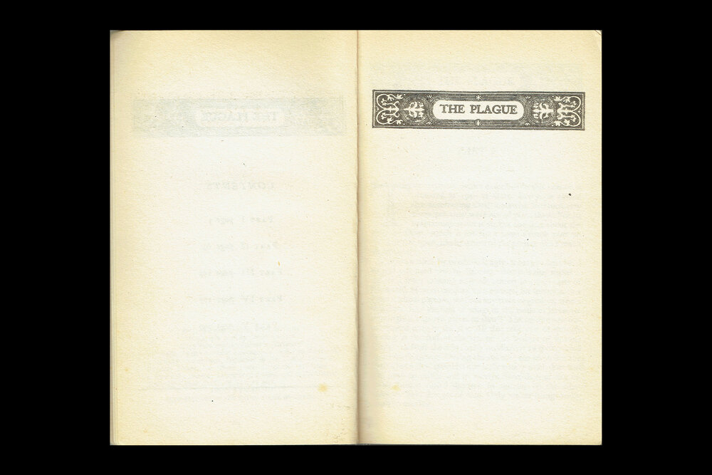 Book Design: Half-Title Page of  The Plague by Albert Camus