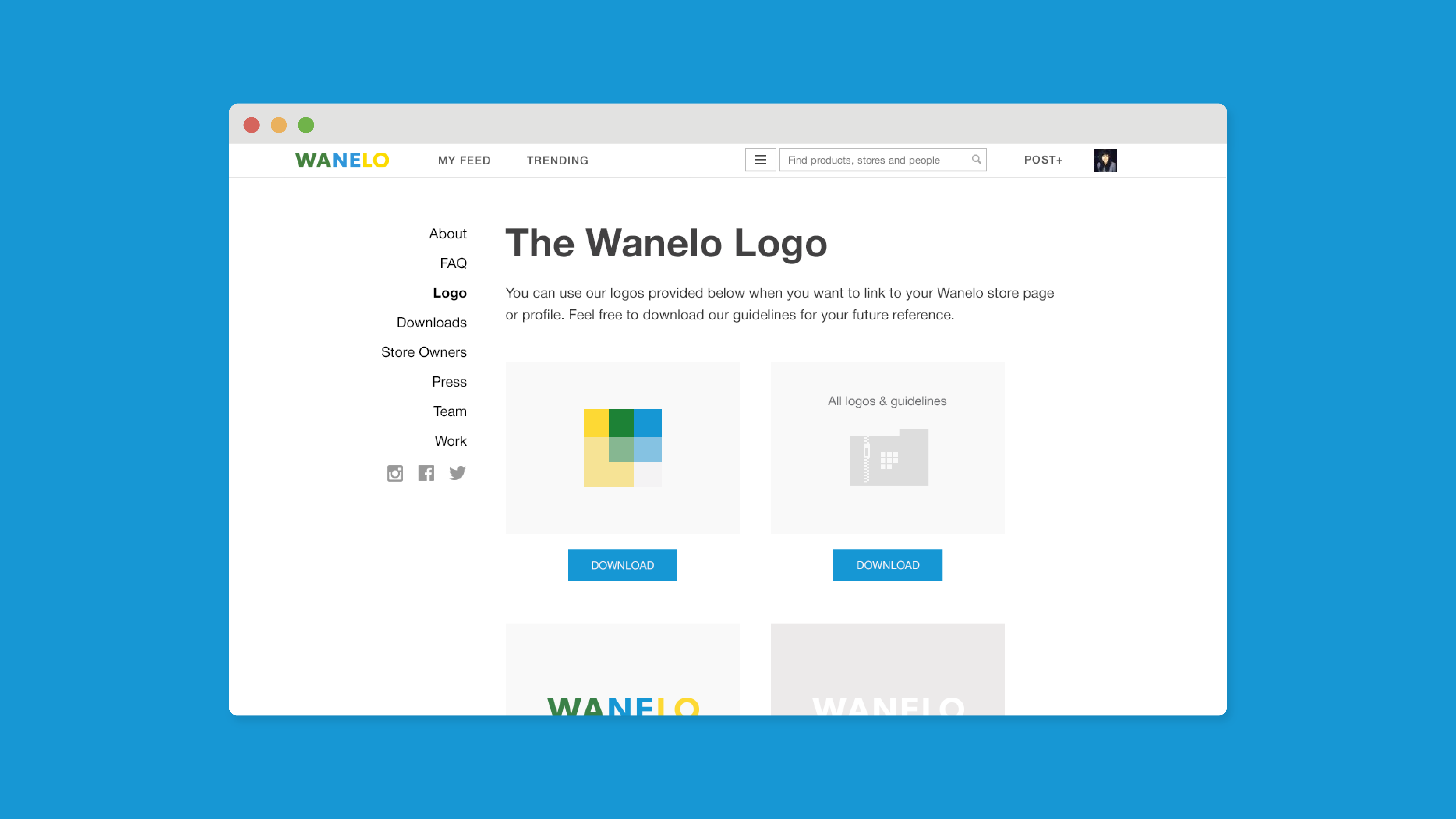 Wanelo Logo and About Pages