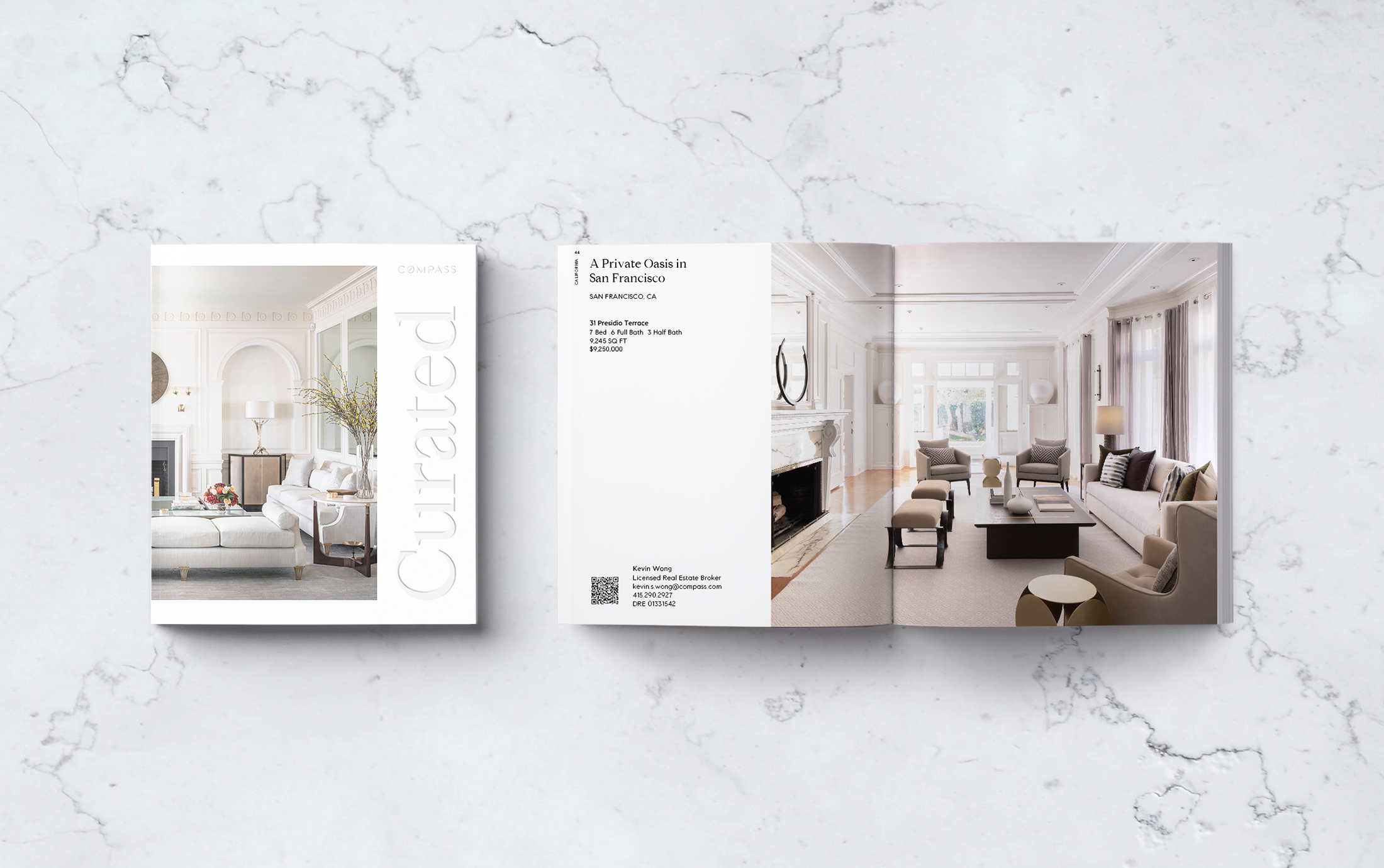 Curated Magazine, Front Cover and Interior Spread