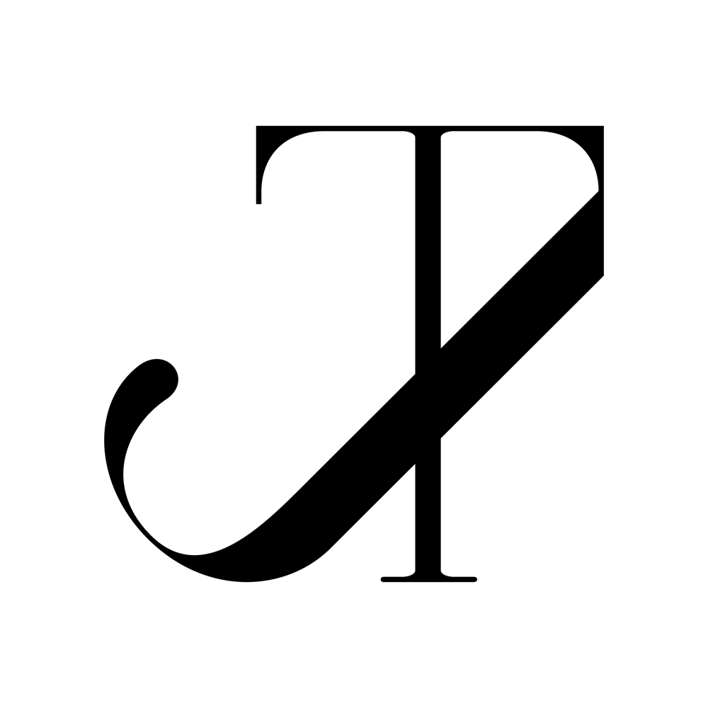 Compass Monogram, Connected JT in a Modern Serif