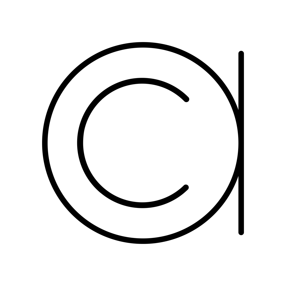 Compass Monogram, Contemporary AC Using Lowercase Letterforms with the C in the center of the A