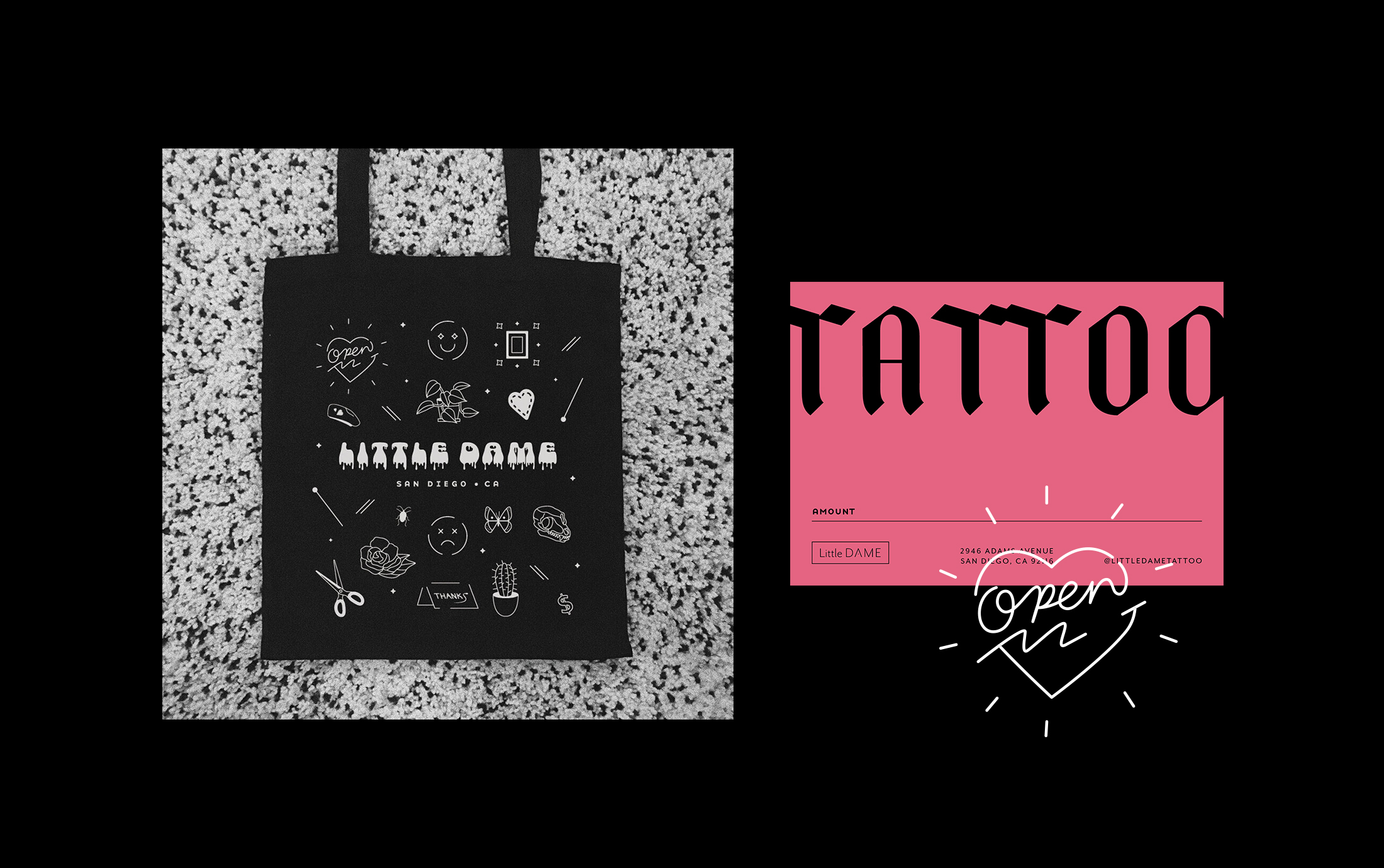 Tattoo Flash Sheet Inspired Tote Bag for GoFundMeSupporters and Gift Cards for New Tattoo Shop
