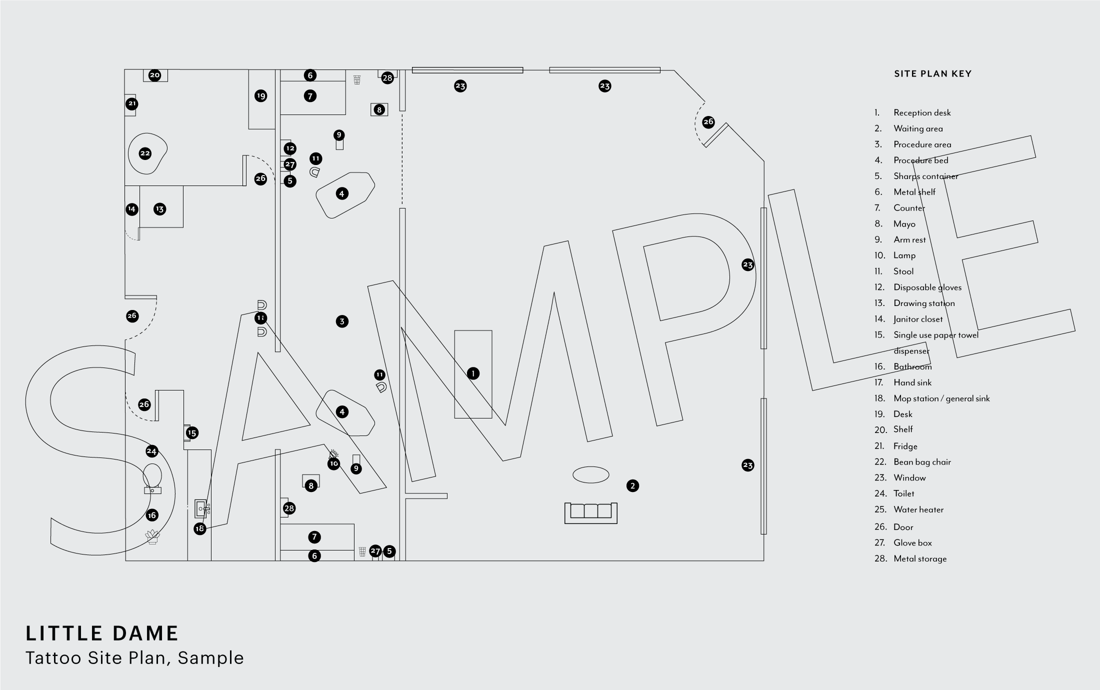 Site Plan for Tattoo Portion of the Business