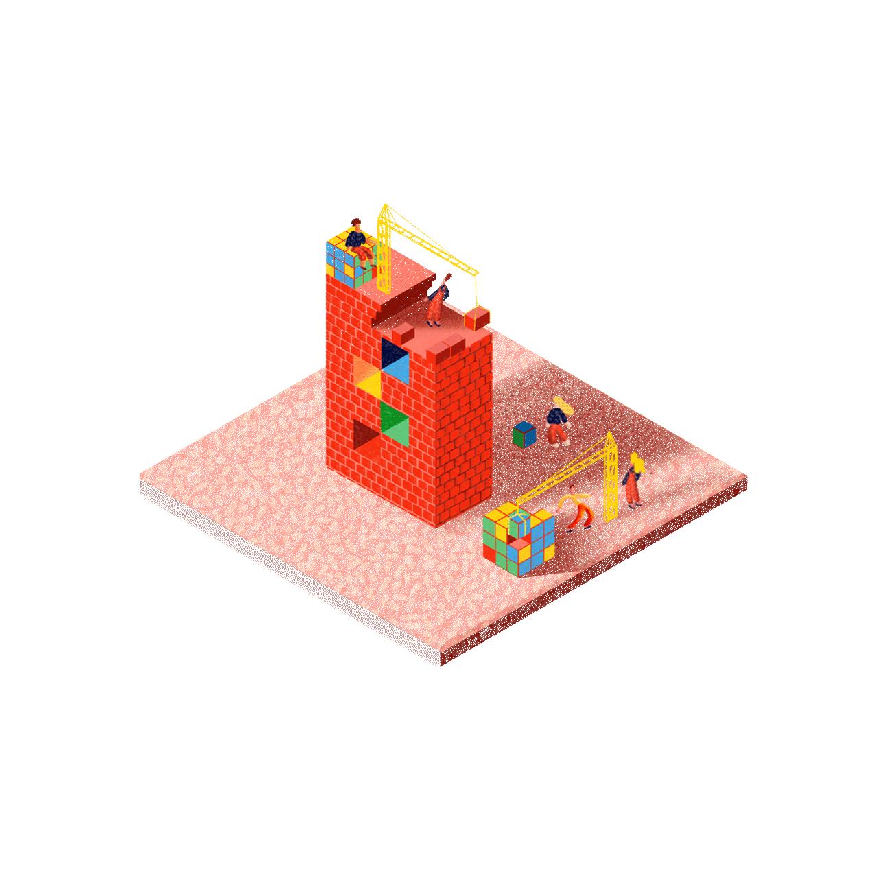 Illustration de la construction d'un projet numérique avec La Briqueterie