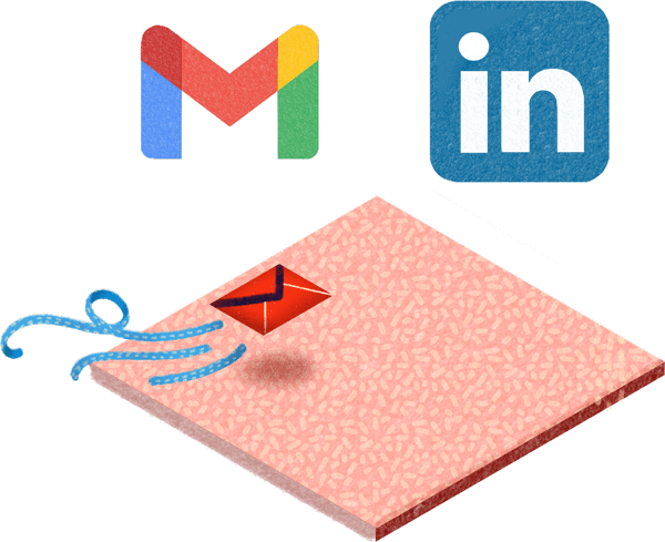Visuel représentant la prospection B2B grâce à LinkedIn et aux campagnes email