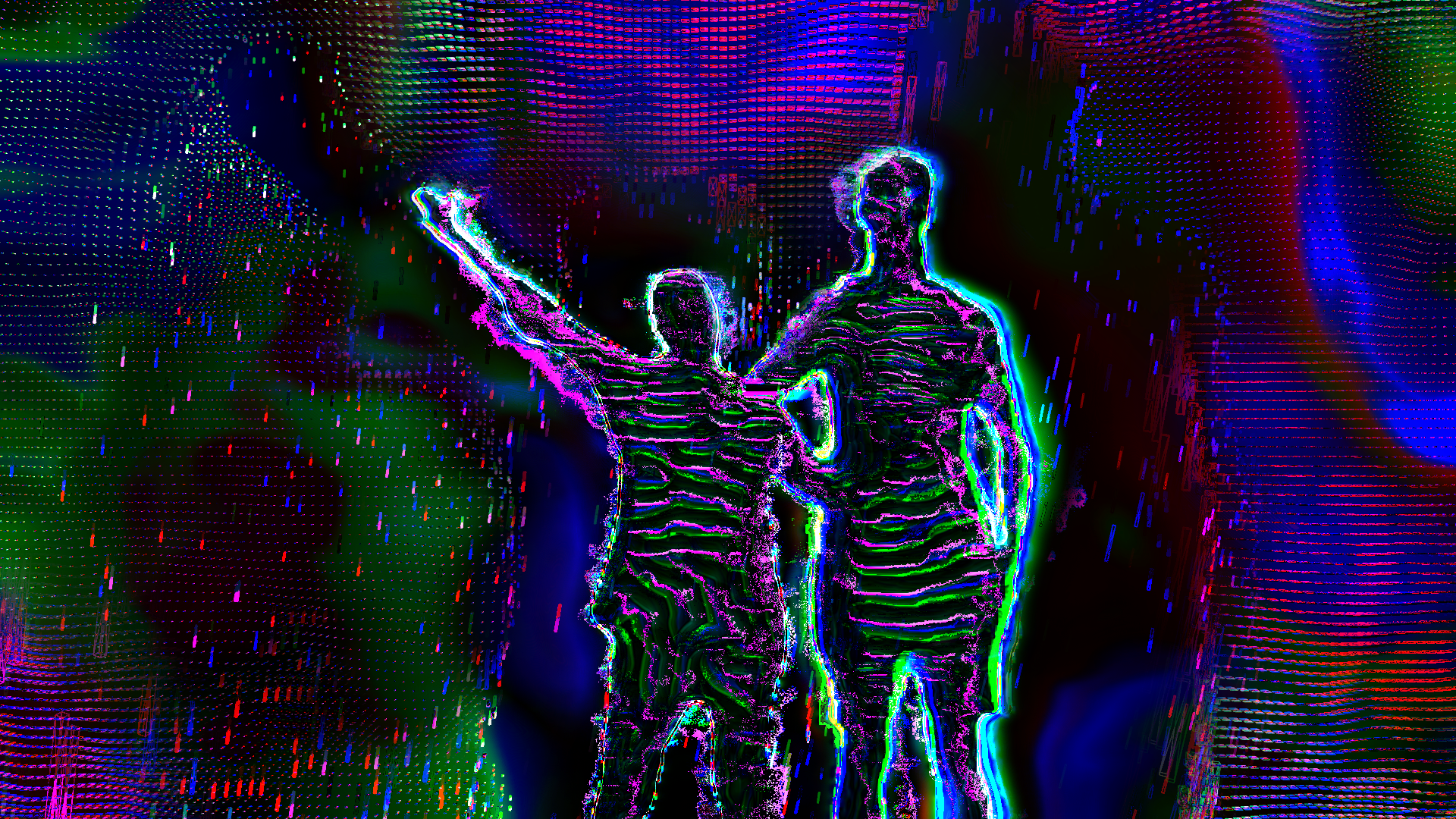 Two figures posing with arms outstretched. Image is texturized with pink and green lines