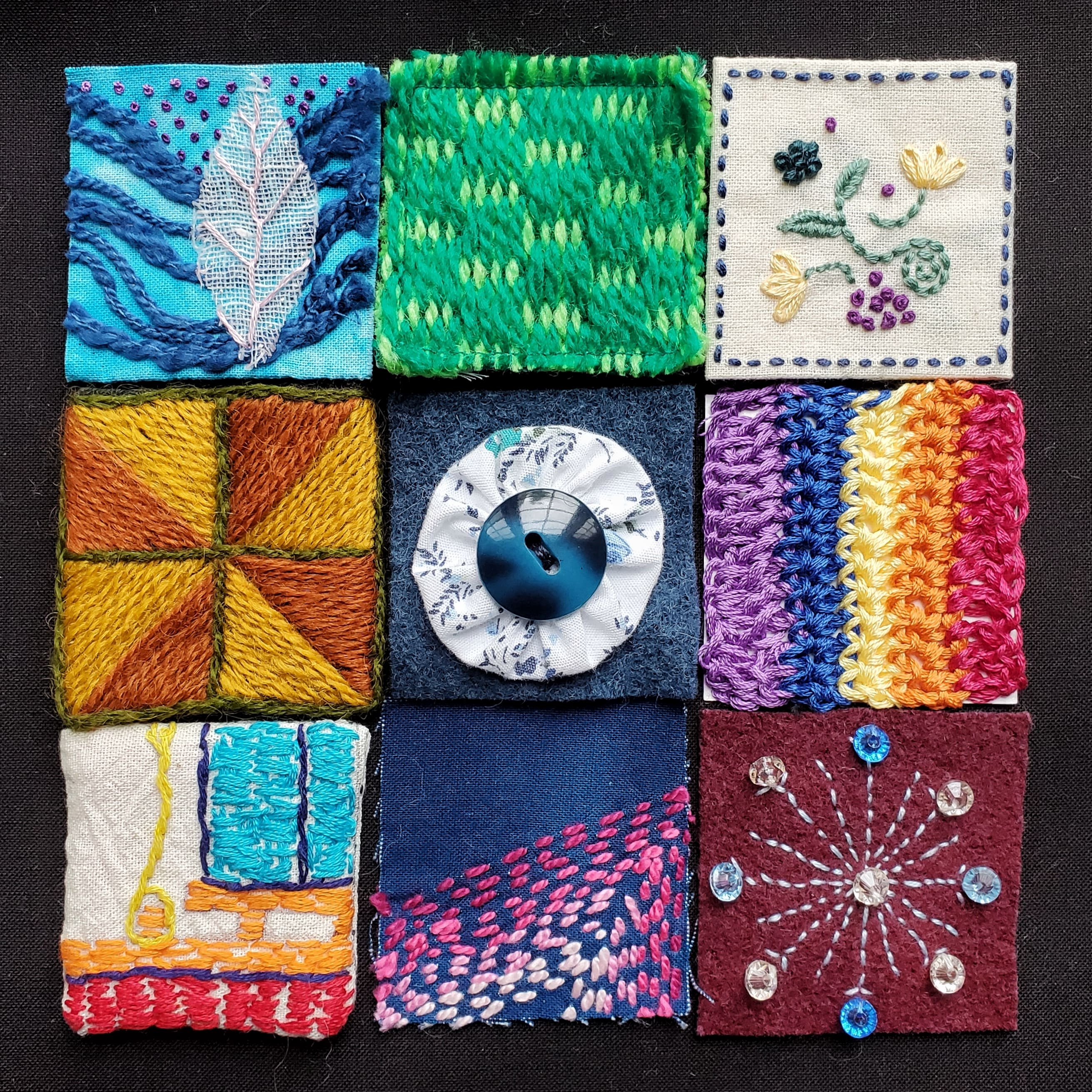 Small squares of individual fabric assembled into a larger square