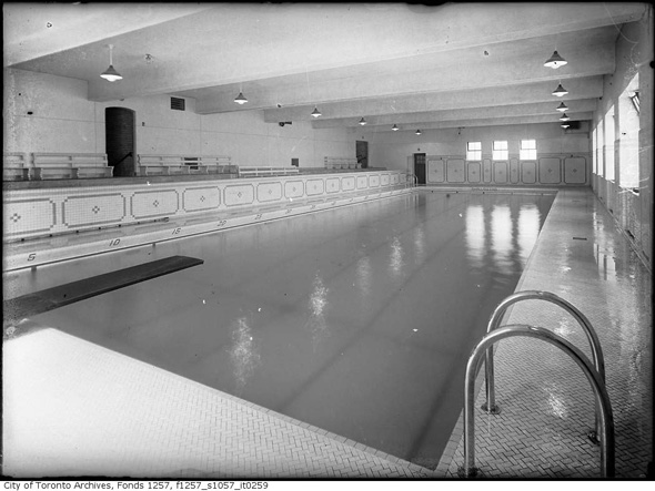 A city archives image of a large indoor lane pool, taken mid 1900s.