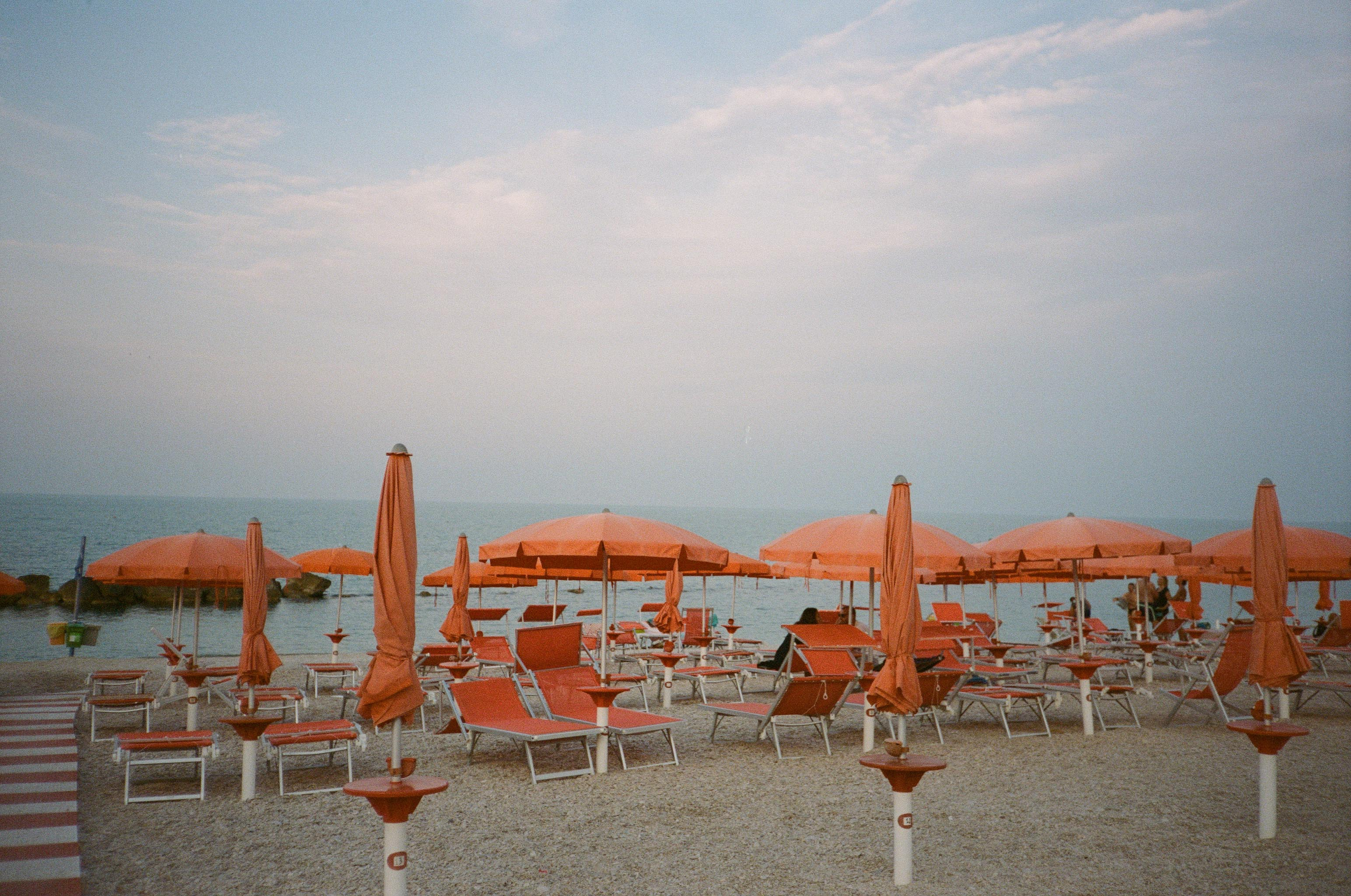 Multiple orange sun umbrellas and various orange lounge chairs are set up in synchronization on a sandy beach. Some umbrellas are opened fully, and some are  closed.