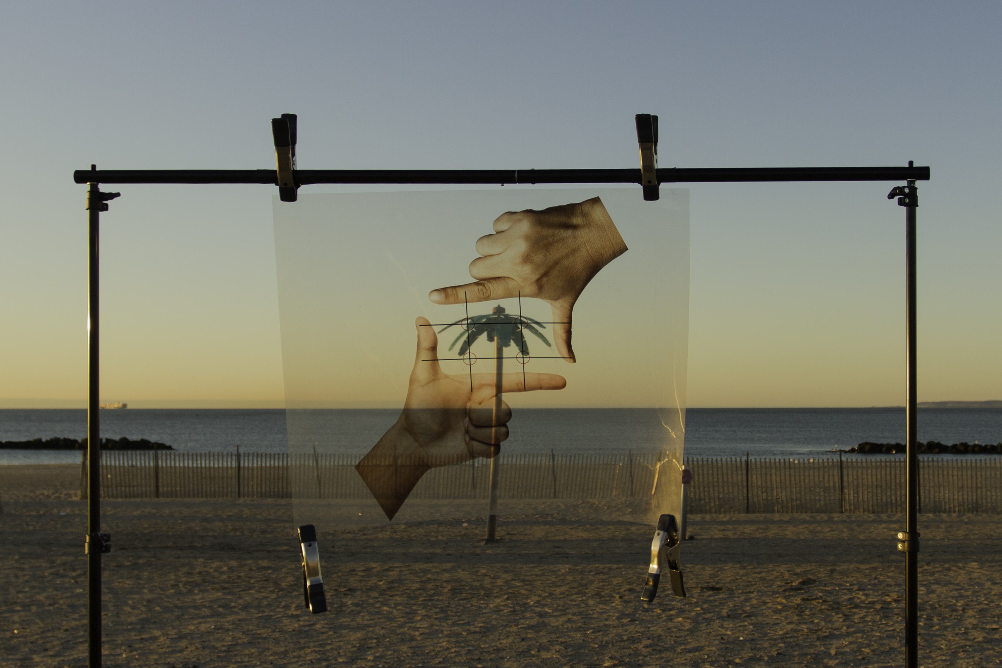 An art image by Tammy Lam, a pair of hands printed on a transparency are clipped to an apparatus framing a fake palm tree on a beach.