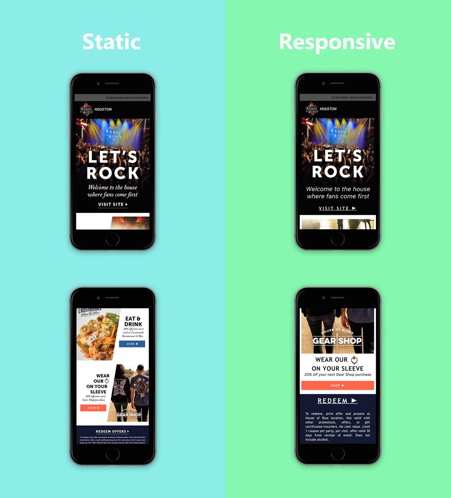 Side-by-side of phone screenshots showing the difference between a static, image-only email and a responsive one