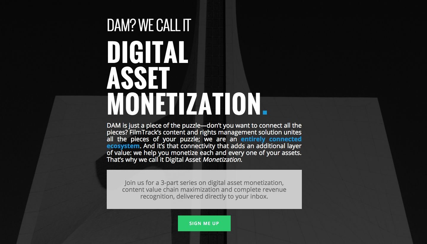 Landing page for an email series call Digital Asset Monetization