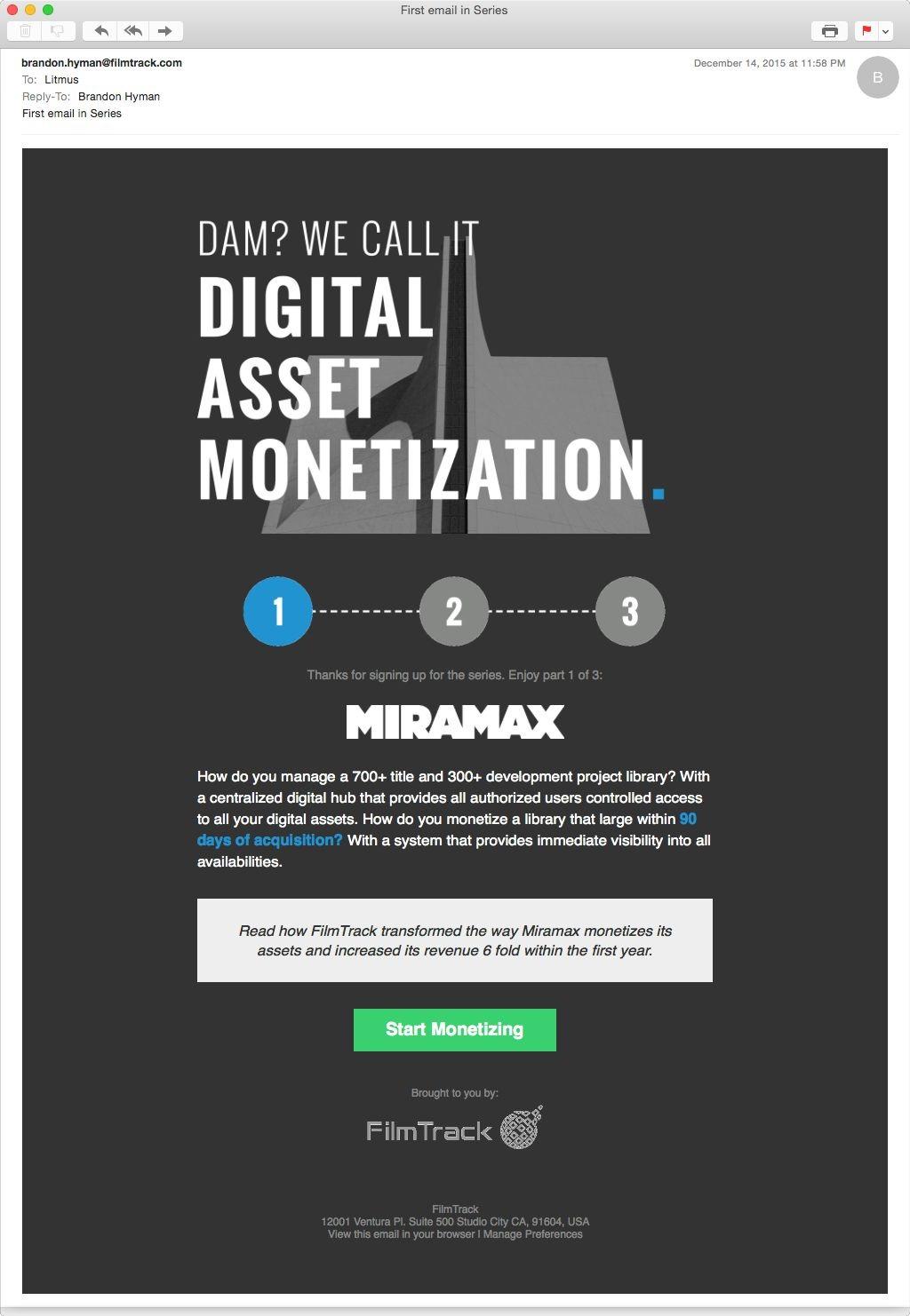 first email in a series call Digital Asset Monetization