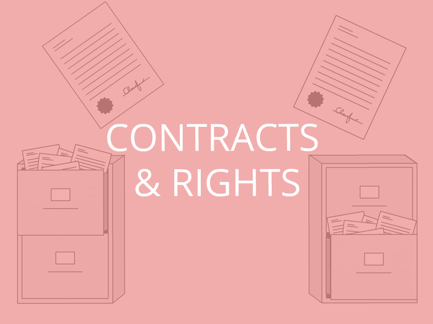 """""""contracts & rights"""" with illustration of filing cabinets"""