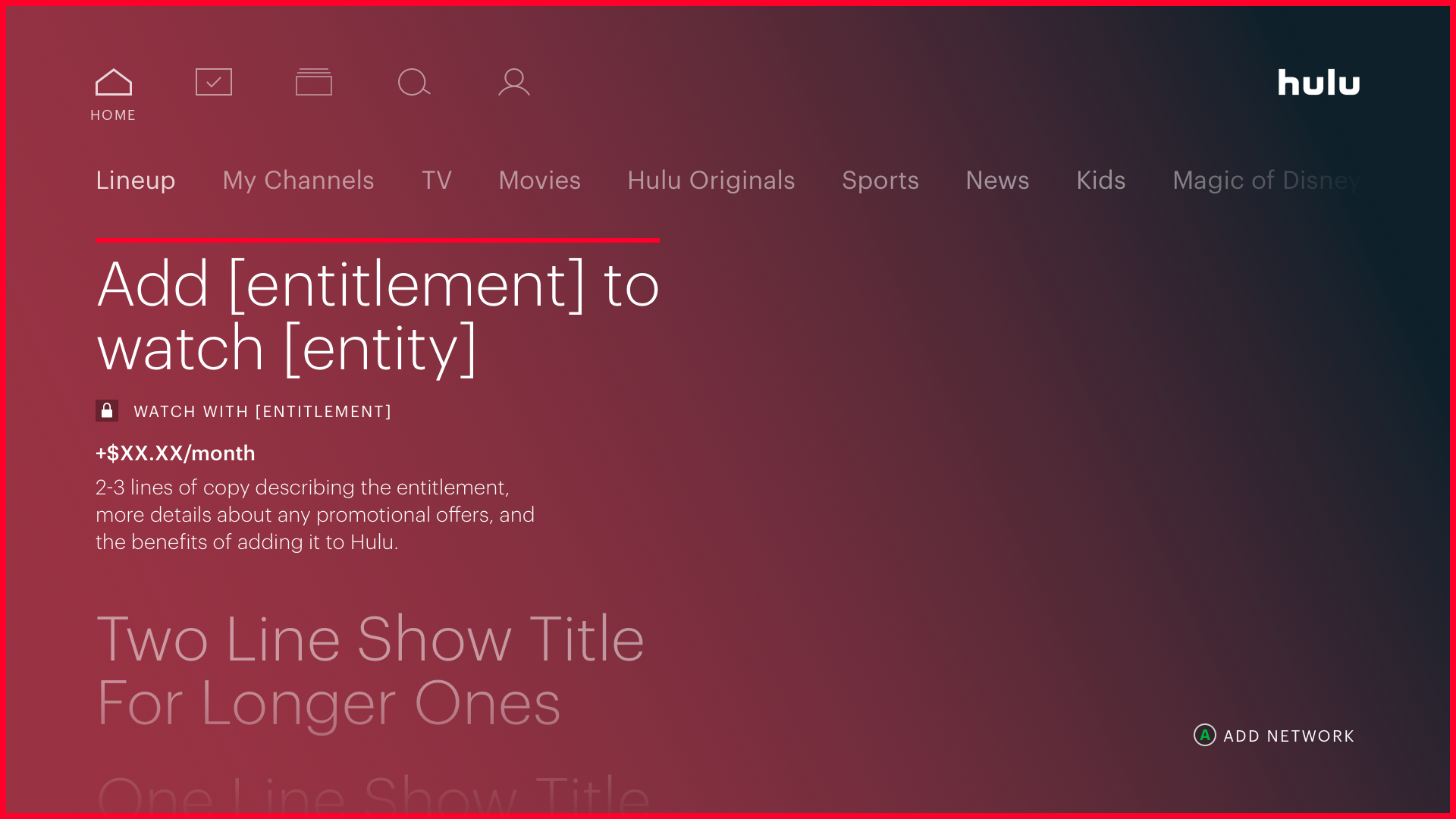 Hulu home page on a TV showing a template for a cover story with specific language blocks to use