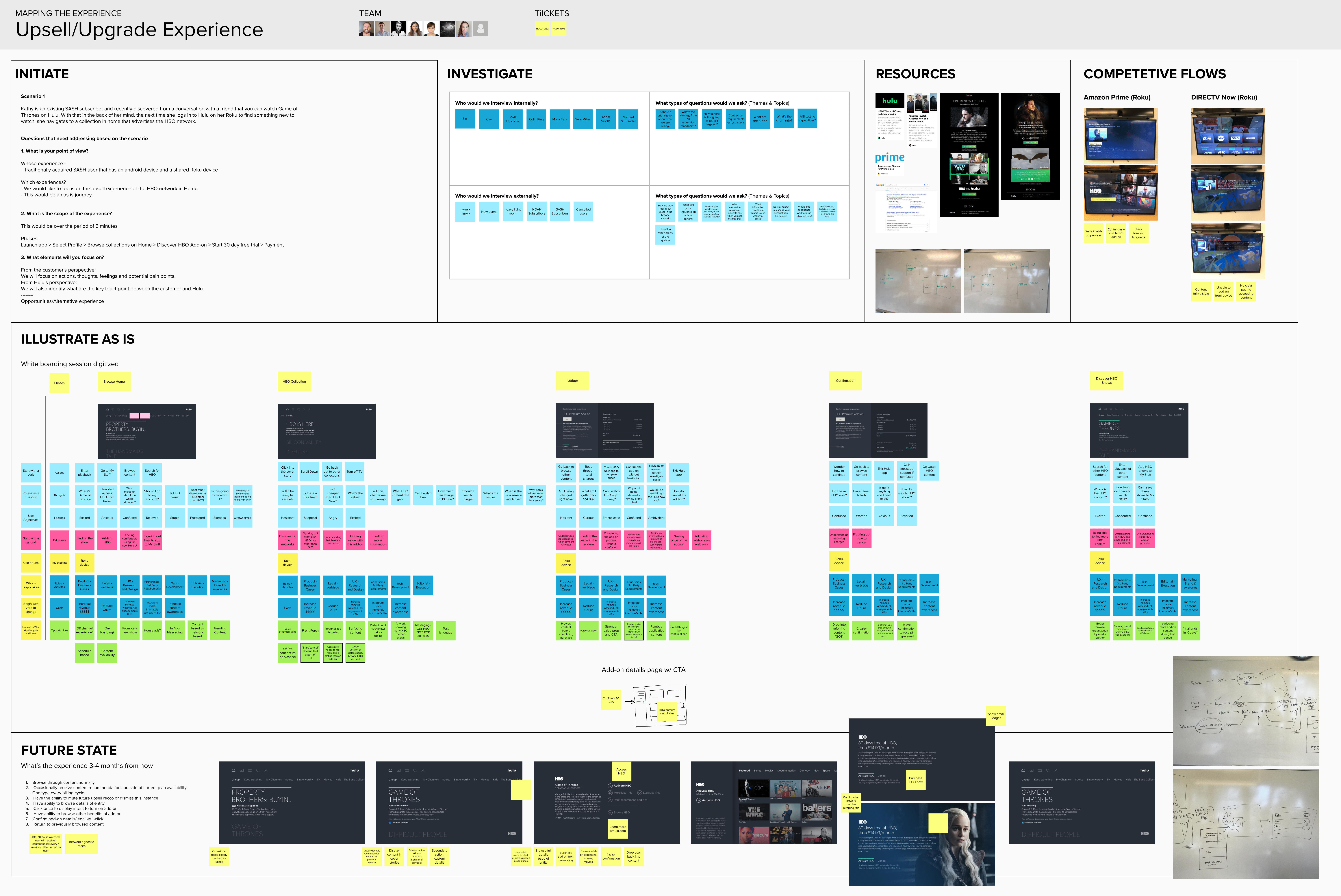 digital whiteboard with mapping exercise full of sticky notes and screenshots