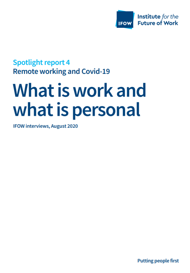 "Front cover of Report with headline ""What is Work and What is Personal?"""