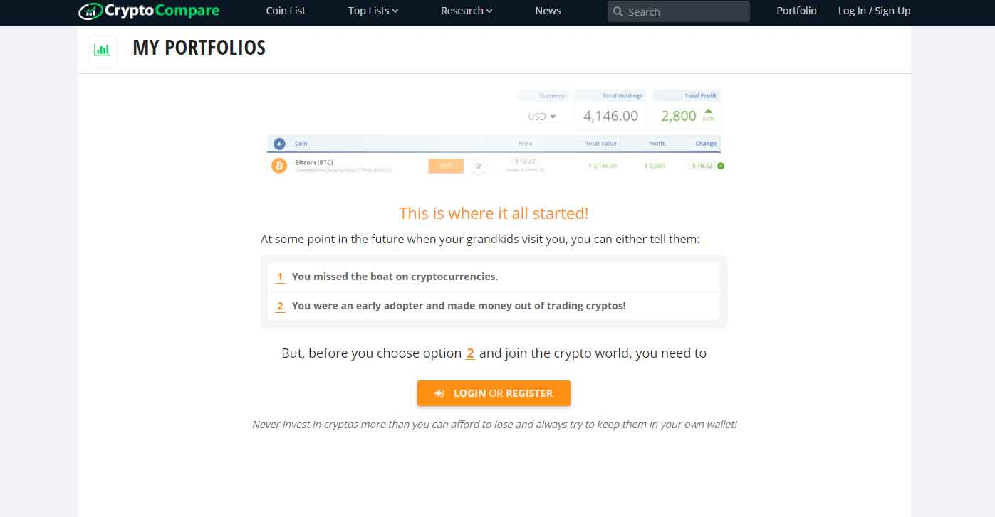 Crypto Compare crypto portfolios