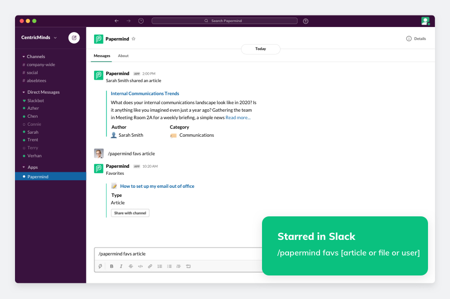PaperMind search results in Slack