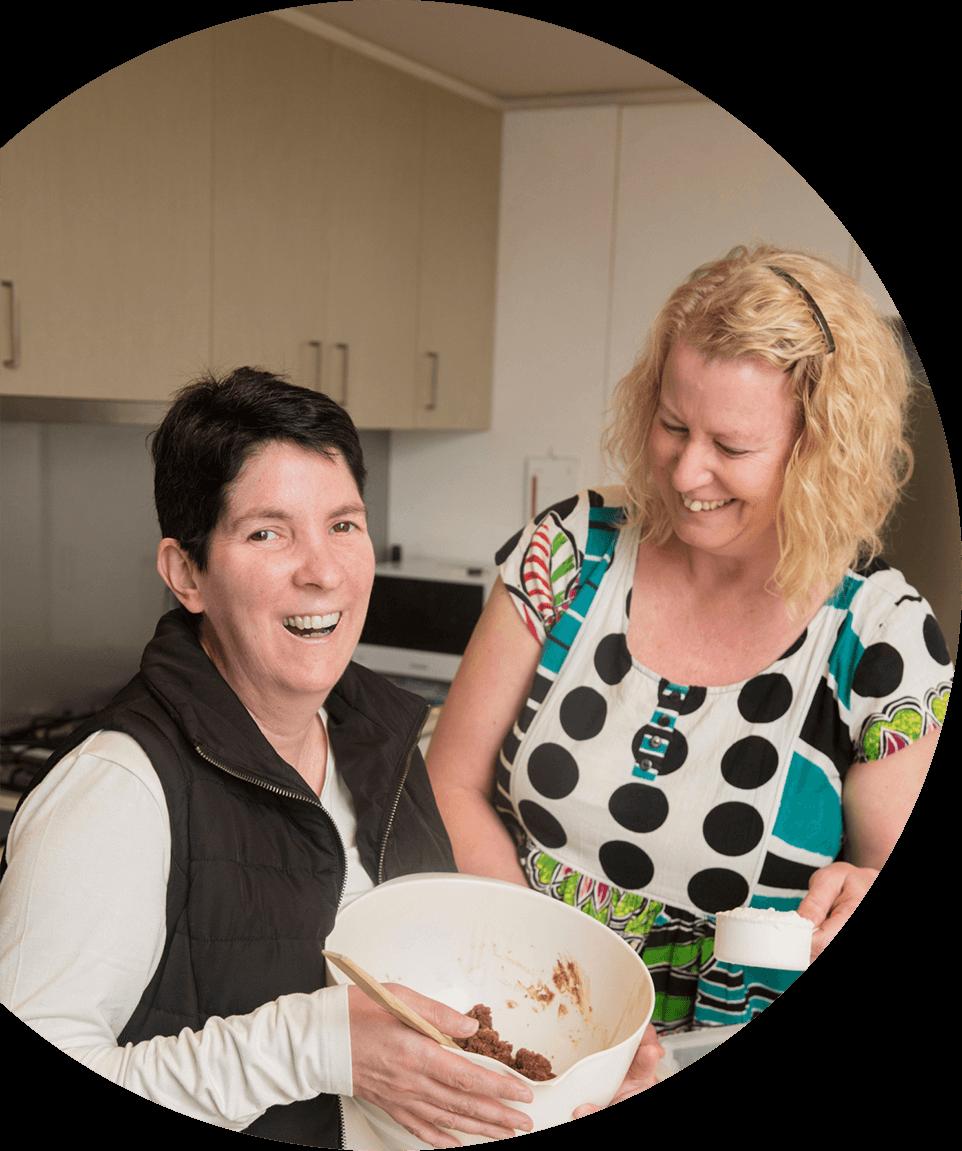 Two women baking