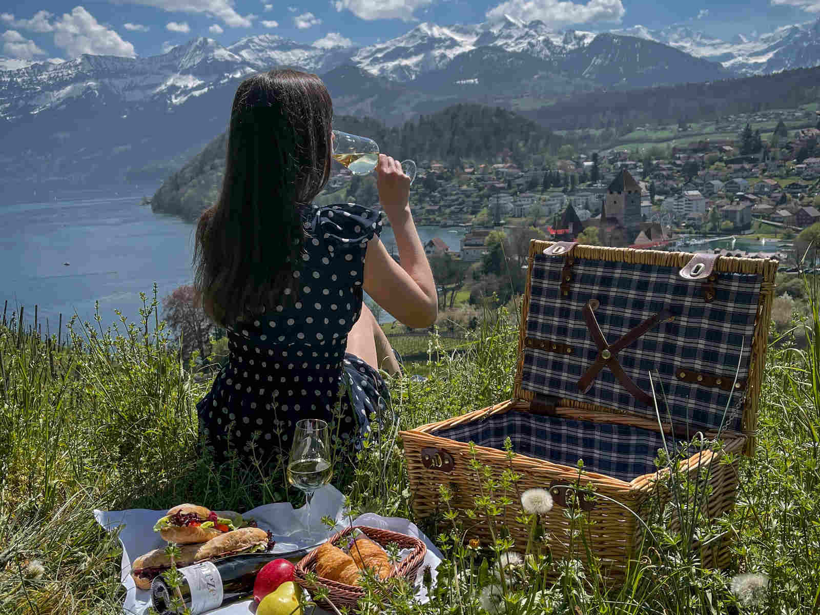 Frau trinkt Wein neben Picknickkorb