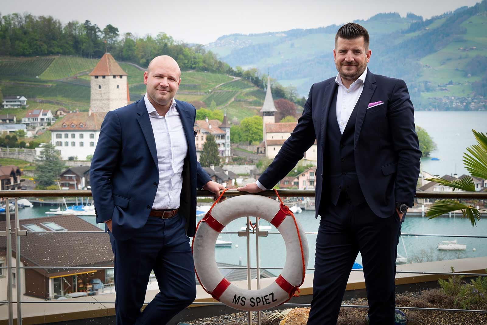 Bruno Affentranger und Timo Horber, Gastgeber Belvédère Strandhotel Spiez